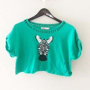 later first rate buying cheap Topshop Tops | Zebra Crop Top Embroidered Woven Tee | Poshmark